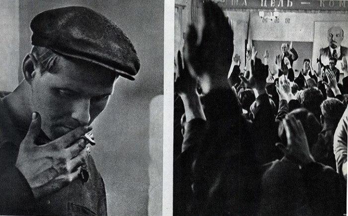 Голосование за прием Владислава Яцименко (слева) в Коммунистическую партию Советского Союза.