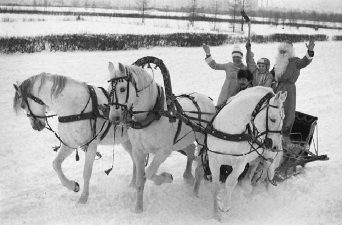 В звенящую снежную даль, три белых коня - декабрь, январь и февраль.