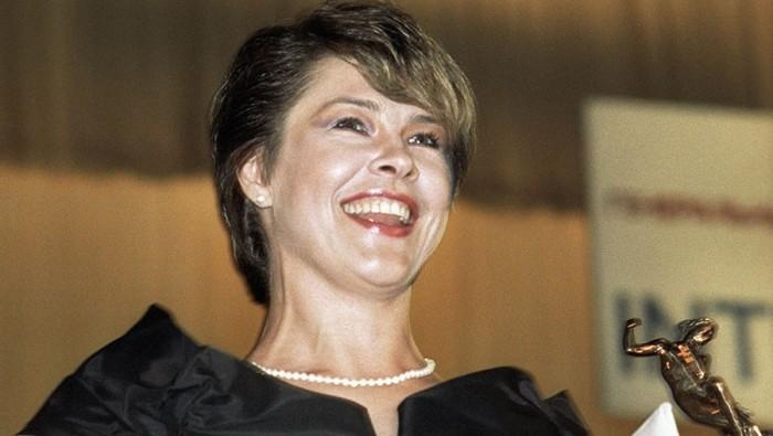 Актриса театра и кино на вручении премии «Кинотавр» за лучшеую женскую роль в фильме «Афганский излом». Июнь 1992 года. Фото Галины Кмит.