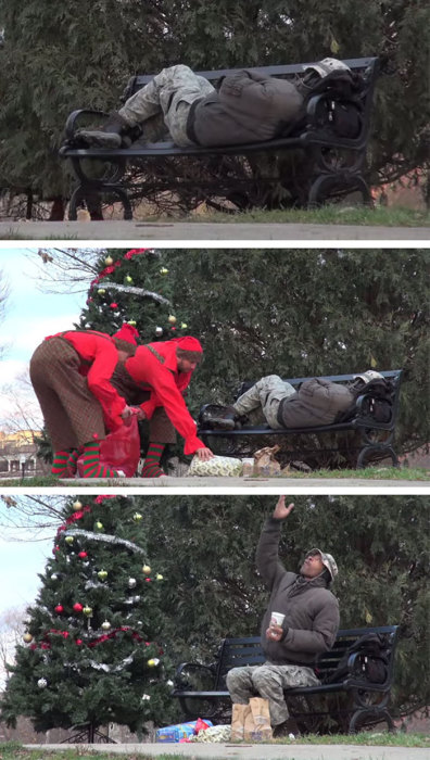 Рождественский сюрприз от эльфов для бездомного о котором он так мечтал.