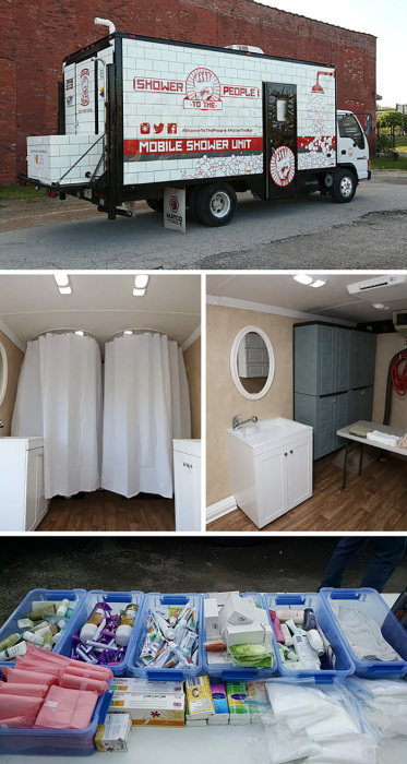 Мужчина путешествует на своём грузовике по всему городу, даря нуждающимся теплый душ, комфортное бритье и просто эстетическое удовольствие.