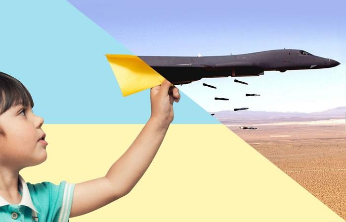 Коллаж «Самолетики» - жуткий контраст между миром и войной.