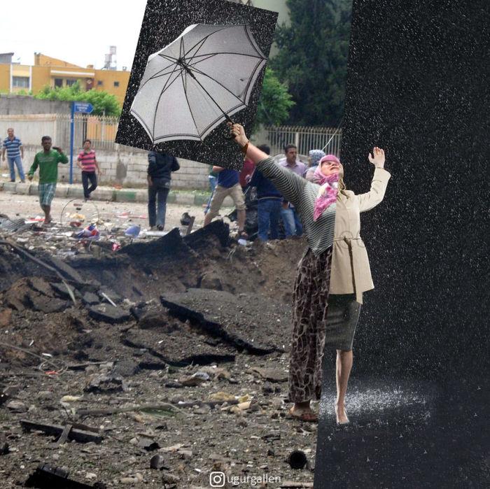 Пугающие коллажи турецкого фотографа показывают, насколько происходящие в мире события связывают людей.