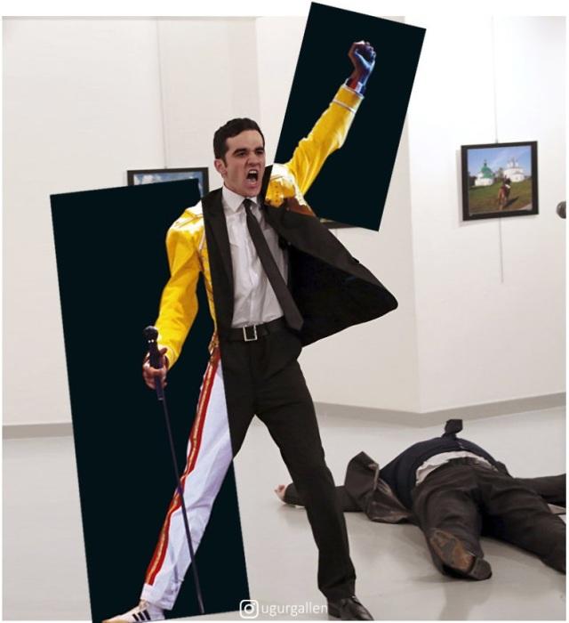 Снимок исламского экстремиста, застрелившего российского посла в Стамбуле, турецкий фотограф частично объединил с выступающим певцом Фредди Меркьюри.