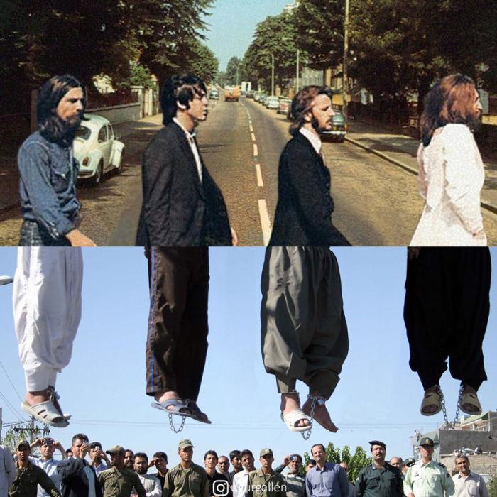 Известная обложка альбома «Abbey Road» британской группы «Beatles» скомпонована с четырьмя публично повешенными мужчинами.