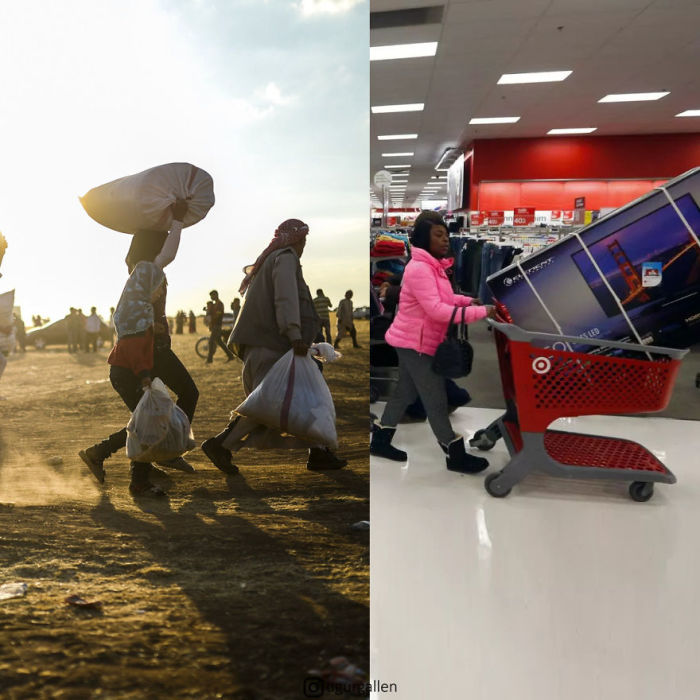 На этом коллаже «встретились» беженцы, спасающиеся со своими последними пожитками от войны, и женщина, купившая новый телевизор в гипермаркете.