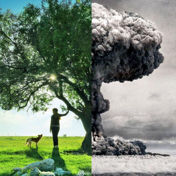 Жуткий коллаж с мирным летним днем и огромным грибовидным облаком, возникшим от мощного взрыва.