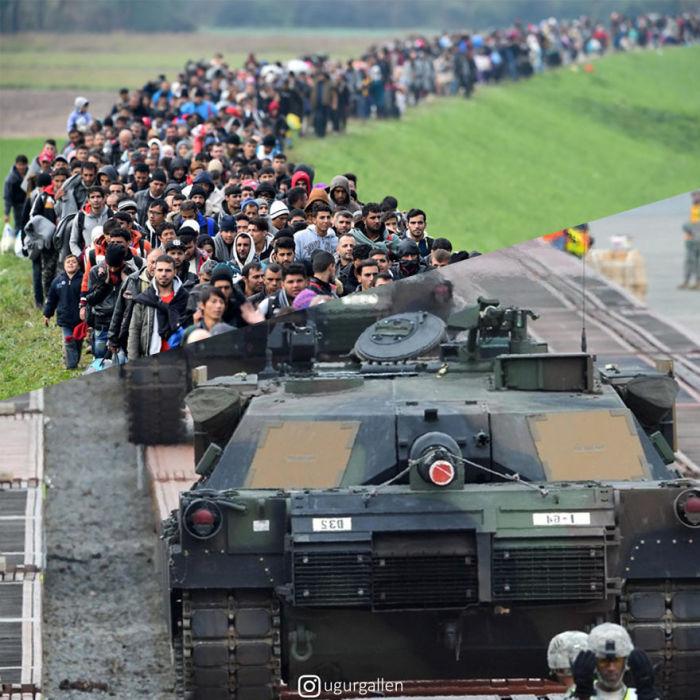 На коллаже представлена огромная колонна беженцев, которая вливается в праздничный парад с показом грозных бронетанковых машин.
