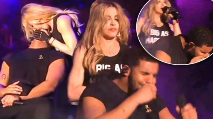 57-летняя звёздная дива настолько уверена в том, что тоже нравится молодым, что в этом году во время музыкального фестиваля Coachella она прилюдно страстно поцеловала 29-летнего канадского рэпера Дрейка, который, надо заметить, совсем не оценил этот жест.