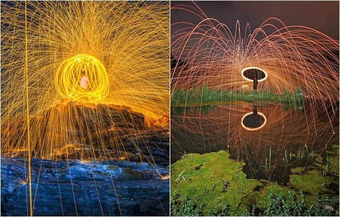Эффектные фотографии, созданные с использованием горящей стальной ваты.