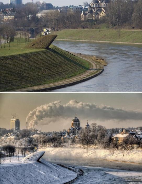 Сравнение весеннего и холодного зимнего утра в -25.