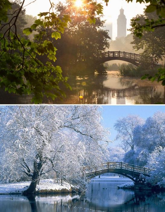 Общественный парк Лейпцига во всей своей красе в любую пору года.