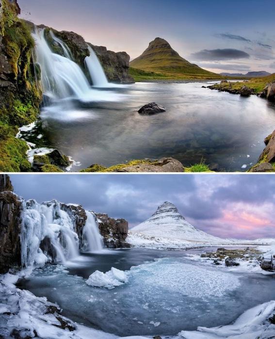 Гора Kirkjufell, которая возвышается посреди глубоководного исландского озера.