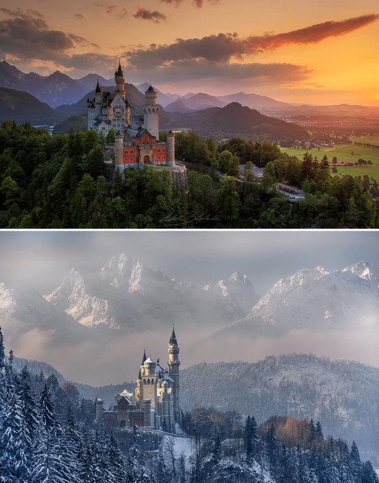 Самый популярный среди туристических мест на юге Германии - романтический замок баварского короля Людвига II.