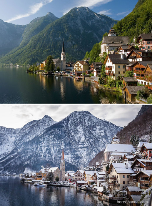 Небольшая деревенька с небольшим количеством населения, затерявшаяся среди альпийских гор.
