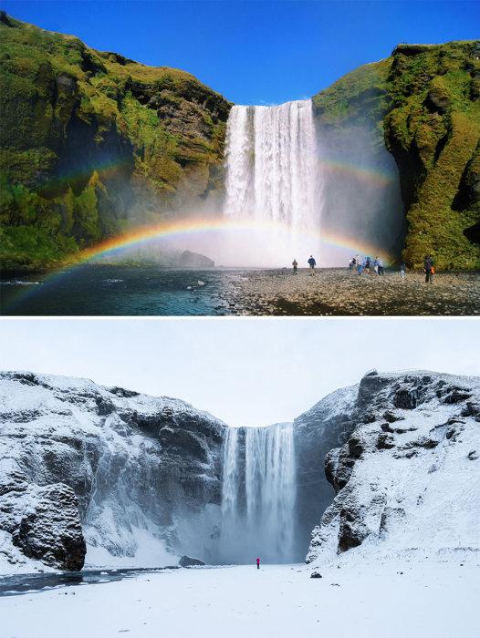 Сбрасывая свои воды с горы, водопад образует огромное количество брызг, которые попадая в солнечных лучи образуют веселую радугу.