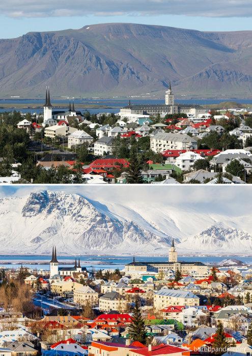 Рейкьявик - это крупный город в Исландии, расположенный на фоне горы Эсья высотой 914 м.