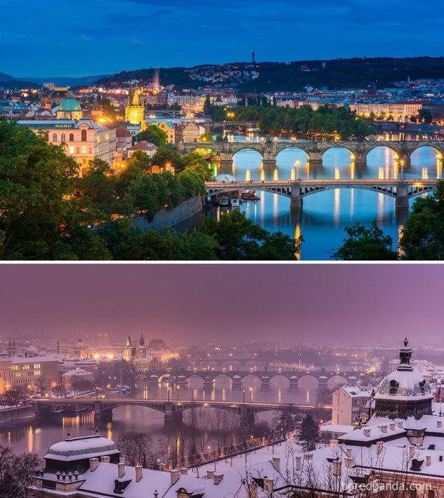 Вечерняя Прага - мировой культурный центр зажженный тысячами огней.