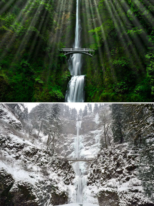 Двухэтажный водопад - самый высокий водопад в мире, с встроенным мостом между ярусами.