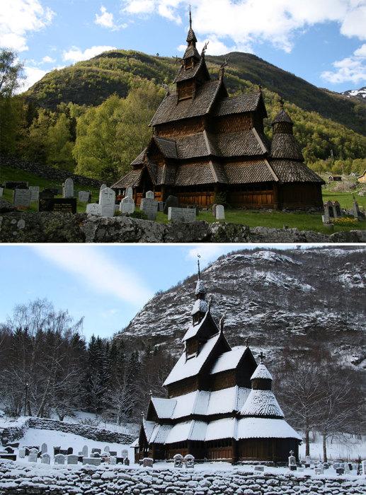 Каркасная церковь построенная из ясеня – дерева, которое в древнескандинавской мифологии почиталось священным.