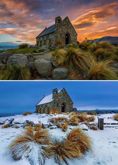 Историческое наследие страны - церковь Доброго Пастыря, расположена на голубом озере Текапо.