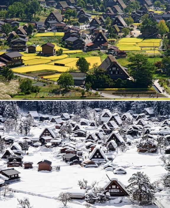 Село, расположенное в труднодоступном горном районе острова Хонсю, которое в зимнее время подолгу отрезано от остальной части Японии.