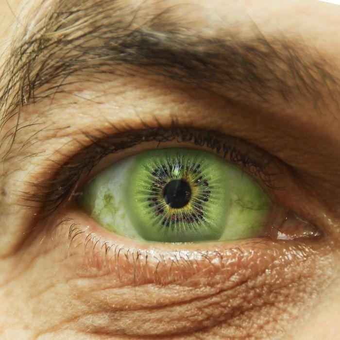 Видимо, художник хотел показать как выглядят глаза любителя полезного и вкусного фрукта – киви!