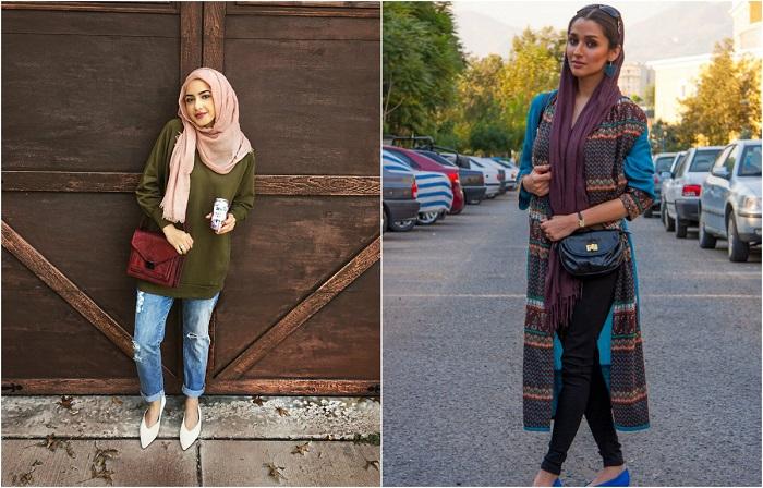 Уличные портреты иранских женщин в хиджабах