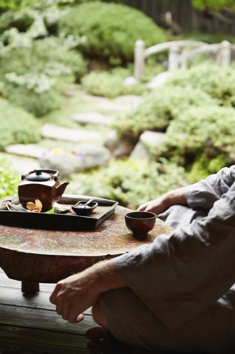 Мужчина в халате пьёт чай в саду.