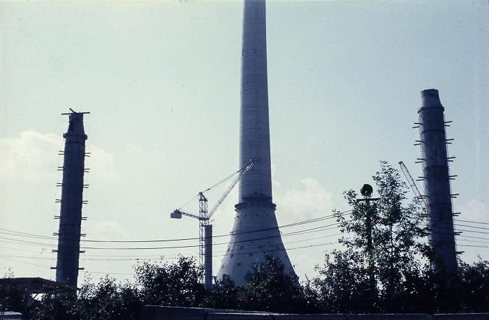 Строительство телебашни в Останкино.