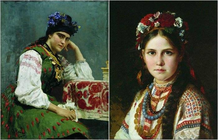 Портреты украинских девушек различных времен.