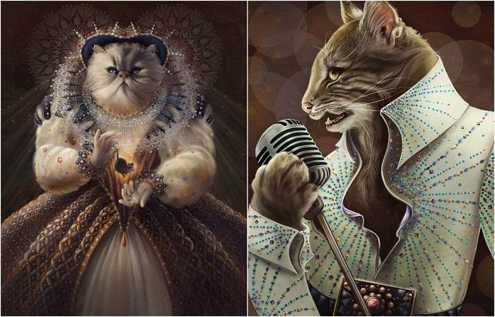 Знаменитые и красивые фигуры в картинах Кристины Гесс.