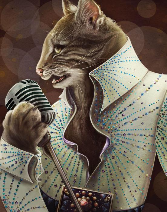 Король рок-н- ролла в сценическом костюме, который украшен камнями..