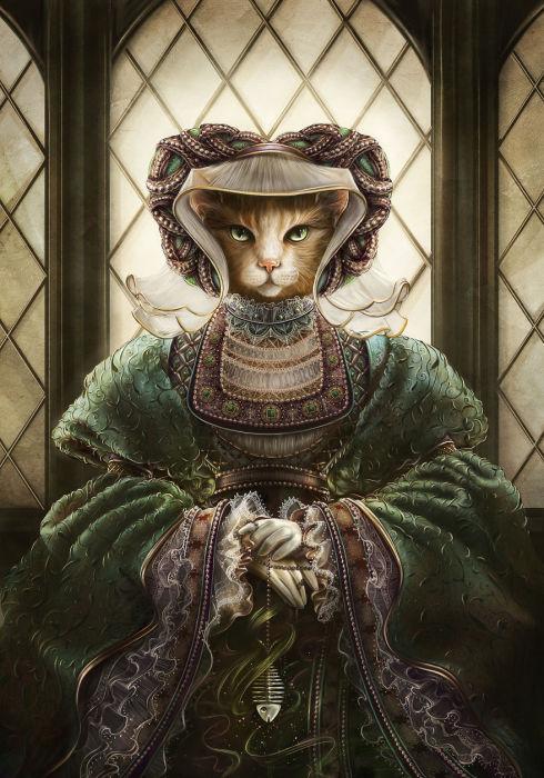 Кошка в изысканном одеянии с широкими рукавами, куда прячет остатки ужина.