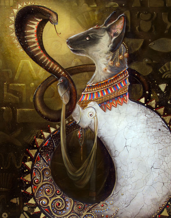Клеопатра, держащая змею в лапе.