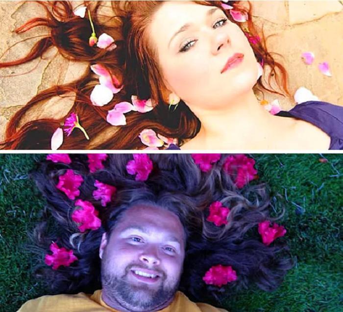 Кузен не устоял и создал свой вариант фотографии с цветами.