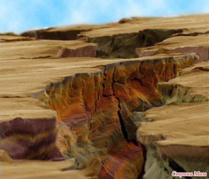 Трещина в металле, которая очень напоминает каньон.