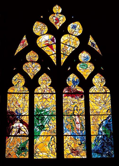 Витраж украшает окно Кафедрального собора Святого Стефана в Меце, Франция. Он принадлежит кисти Марка Шагала — в 1957 году художник получил заказ на изготовление серии из 19 витражей по мотивам историй Ветхого Завета.