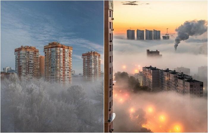 Города в туманной дымке.