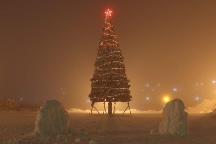 Туман в преддверии Нового года.