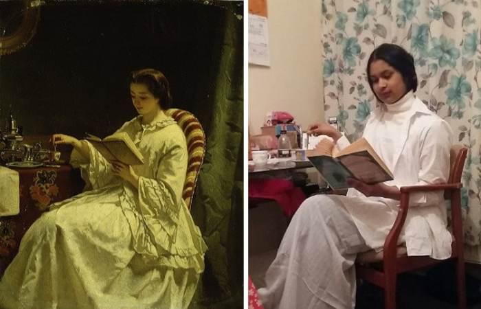 И на картине выдающегося художника, и на снимке samir mazumder девушка, скорее всего, читает увлекательный женский роман за чашечкой ароматного чая.