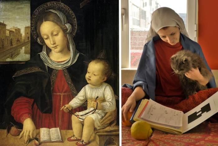 На снимке, воссозданном Ruzistori, кот заменил младенца, а яблоко стало большим желтым лимоном.