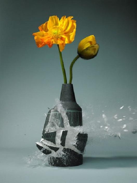 Тонкие цветочные композиции остаются нетронутыми в момент взрыва вазы.
