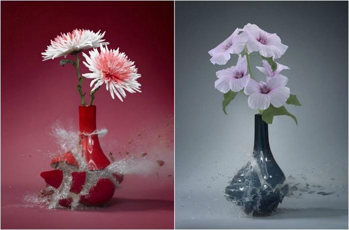 Невероятно зрелищная фотосерия взрыва цветочных ваз с помощью техники высокоскоростной съемки.