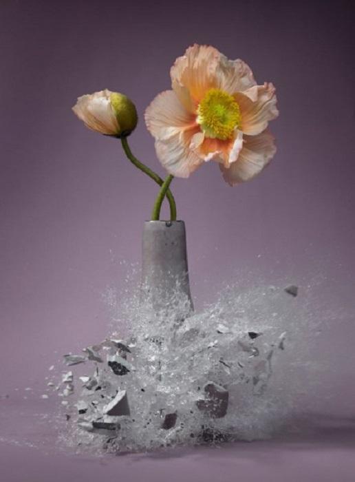 Взрыв керамической вазы.