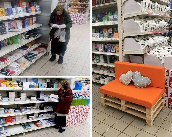 Эта женщина уже 15 лет ходит в супермаркет, чтобы почитать книги, и специально для нее поставили диванчик.