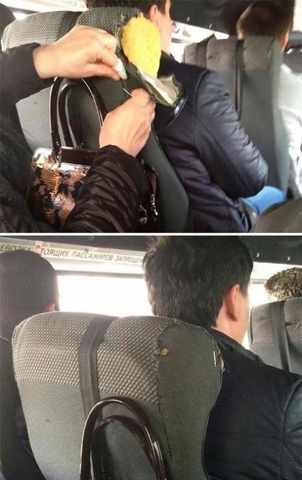 Неравнодушная пассажирка аккуратно зашила порванное сиденье в маршрутке.
