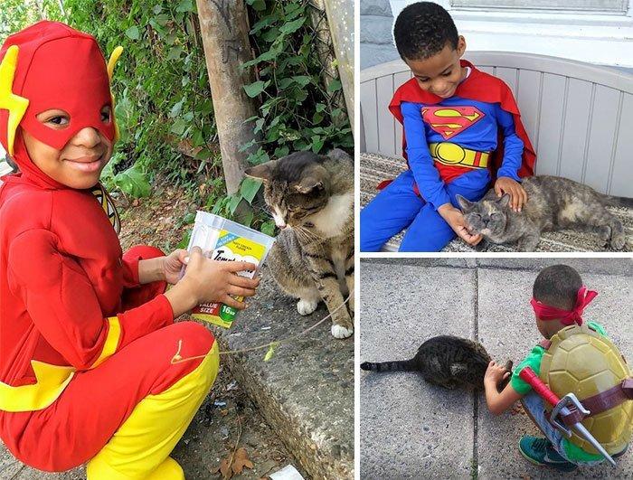 Маленький Шон Гриффин из США наряжается в костюмы супергероев и помогает бездомным животным.