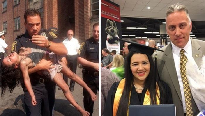 Полицейский Питер Гетз, спасший 18 лет назад 5-ти летнюю Джозибек Апонте, пришел на ее выпускной.