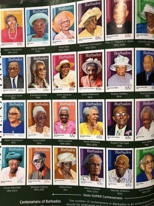 Жители Барбадоса, достигнувшие 100-летнего возраста, получают именные марки в свою честь.